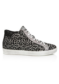 AIR & GRACE Alto High Top Leopard Trainers - Pewter