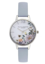 Olivia Burton Enchanted Garden Demi Dial Watch - Chalk Blue & Silver
