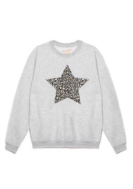 ON THE RISE Leopard Star Jumper - Grey