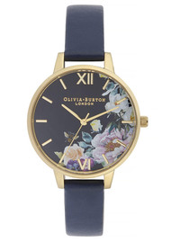 Olivia Burton Enchanted Garden Demi Dial Watch - Navy & Gold