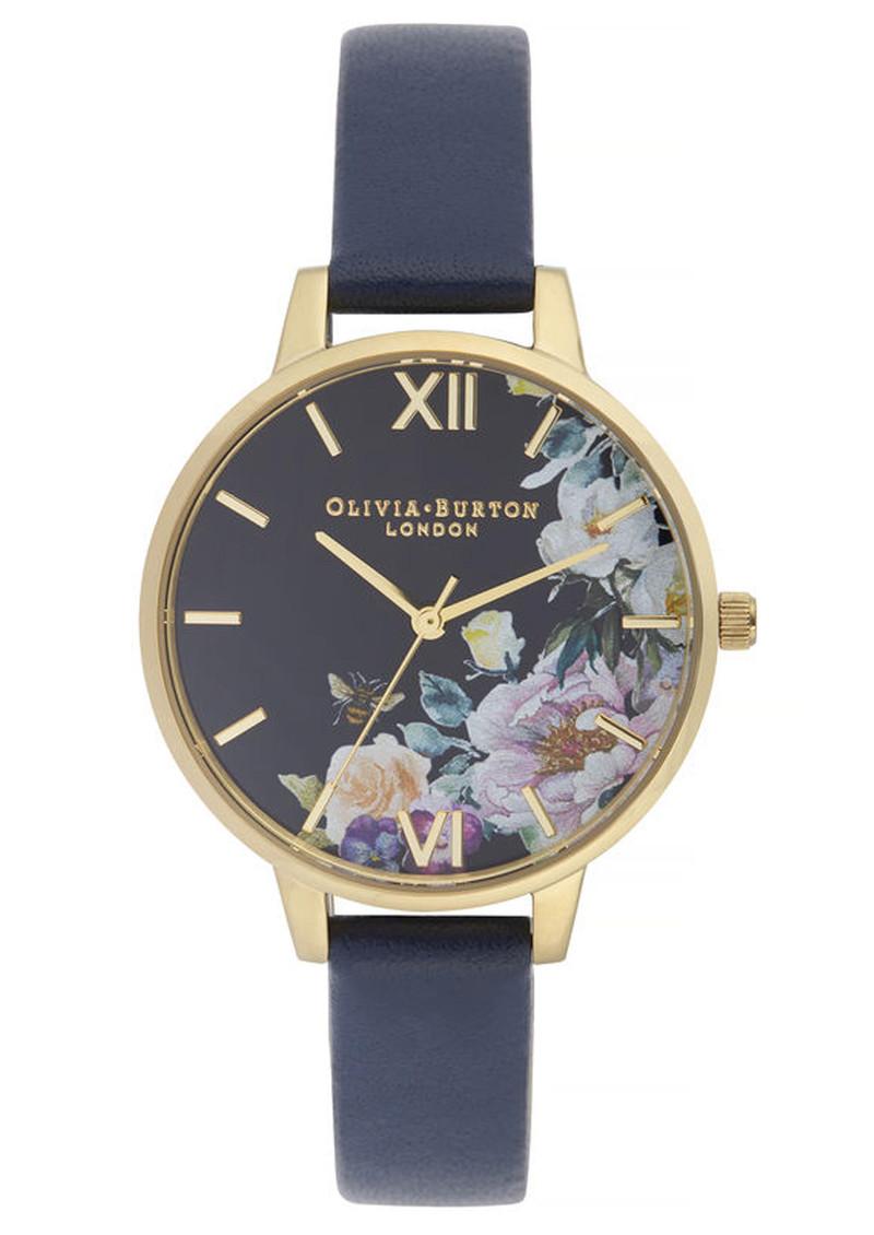 Olivia Burton Enchanted Garden Demi Dial Watch - Navy & Gold main image