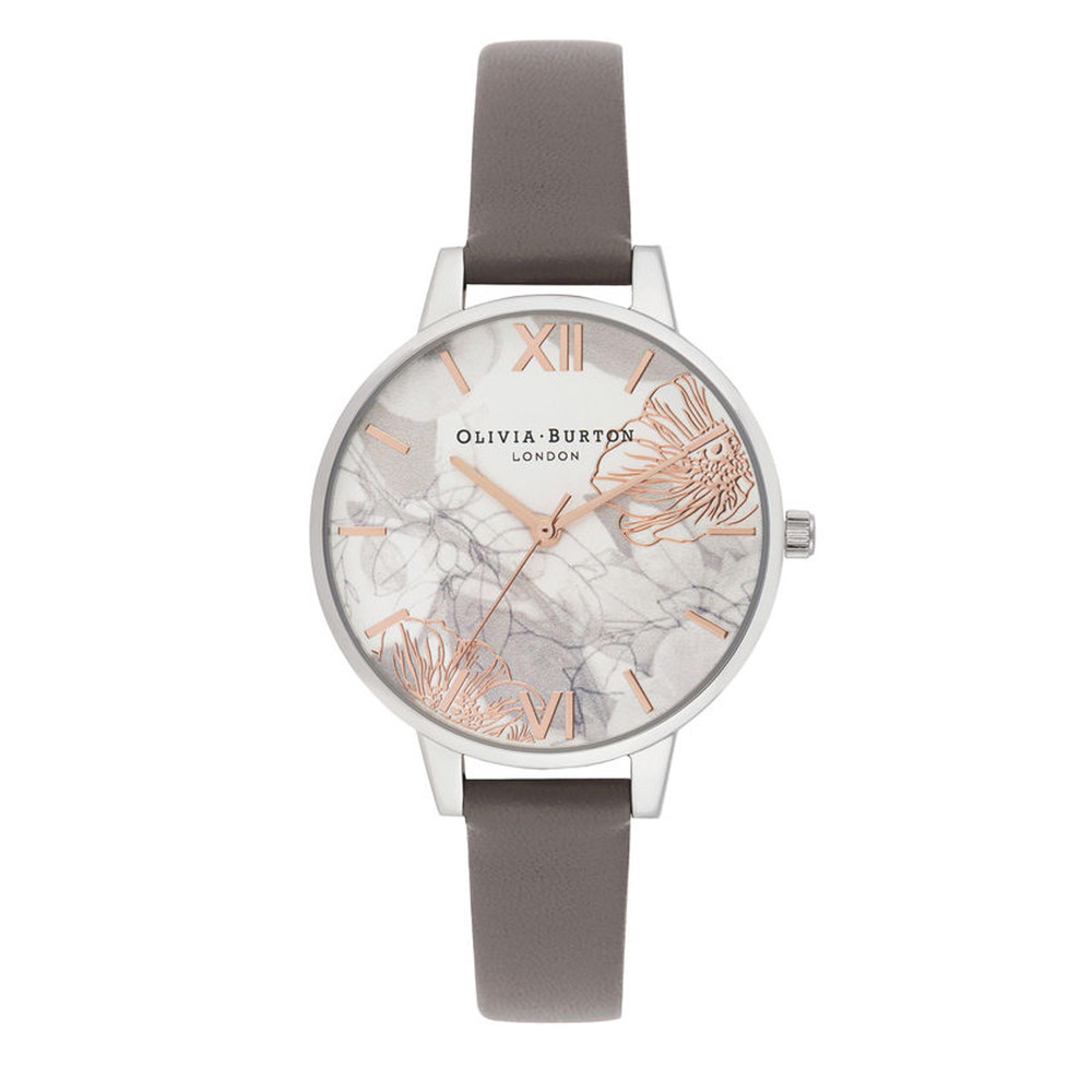 Abstract Florals Demi Dial Watch - London Grey & Silver