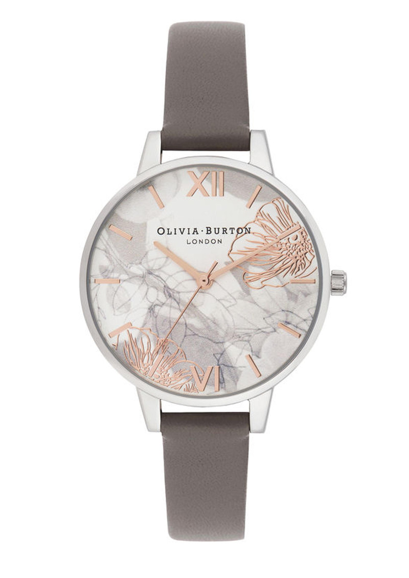 Olivia Burton Abstract Florals Demi Dial Watch - London Grey & Silver main image