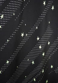 ROCKINS Pyjama Silk Top - Black & Green Polka Stars