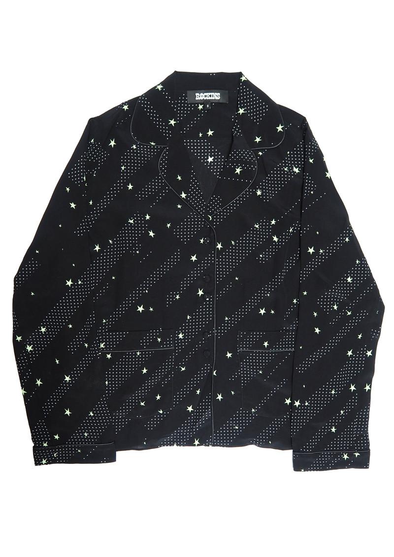 ROCKINS Pyjama Silk Top - Black & Green Polka Stars main image