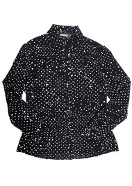 ROCKINS Puff Sleeve Shirt - Black & White Polka Dot