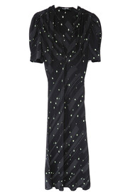 ROCKINS Puff Sleeve Silk Midi Dress - Black & Green Polka Stars