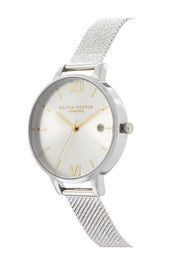 Olivia Burton Sunray Demi Dial Watch with Boucle Mesh - Silver & Gold
