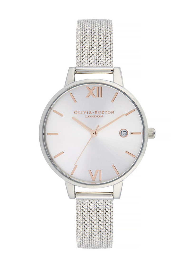 Olivia Burton Sunray Demi Dial Watch with Boucle Mesh - Rose Gold & Silver main image