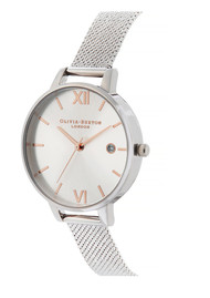 Olivia Burton Sunray Demi Dial Watch with Boucle Mesh - Rose Gold & Silver