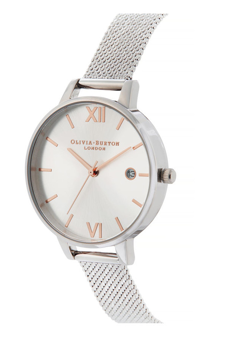 Sunray Demi Dial Watch with Boucle Mesh - Rose Gold & Silver main image