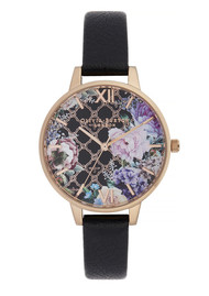 Olivia Burton Glasshouse Demi Dial Watch - Black & Rose Gold