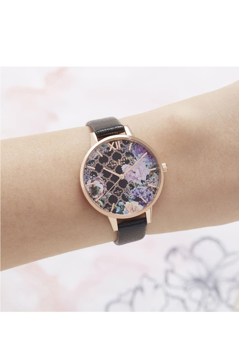 Olivia Burton Glasshouse Demi Dial Watch - Black & Rose Gold  main image