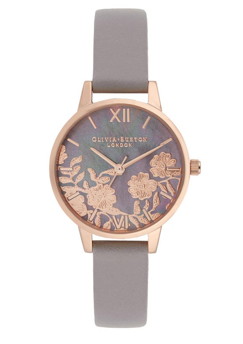 b9f4cdd61 Olivia Burton Lace Detail Midi Dial Watch - Grey, Lilac & Rose Gold