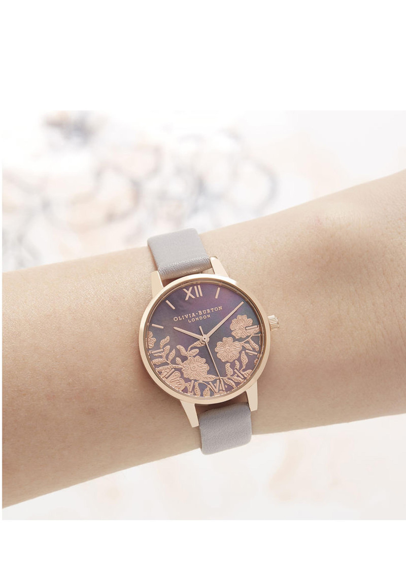 c023e19f7aab0 Olivia Burton Lace Detail Midi Dial Watch - Grey