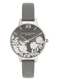 Olivia Burton Lace Detail Sunray Demi Dial Watch - Grey & Silver