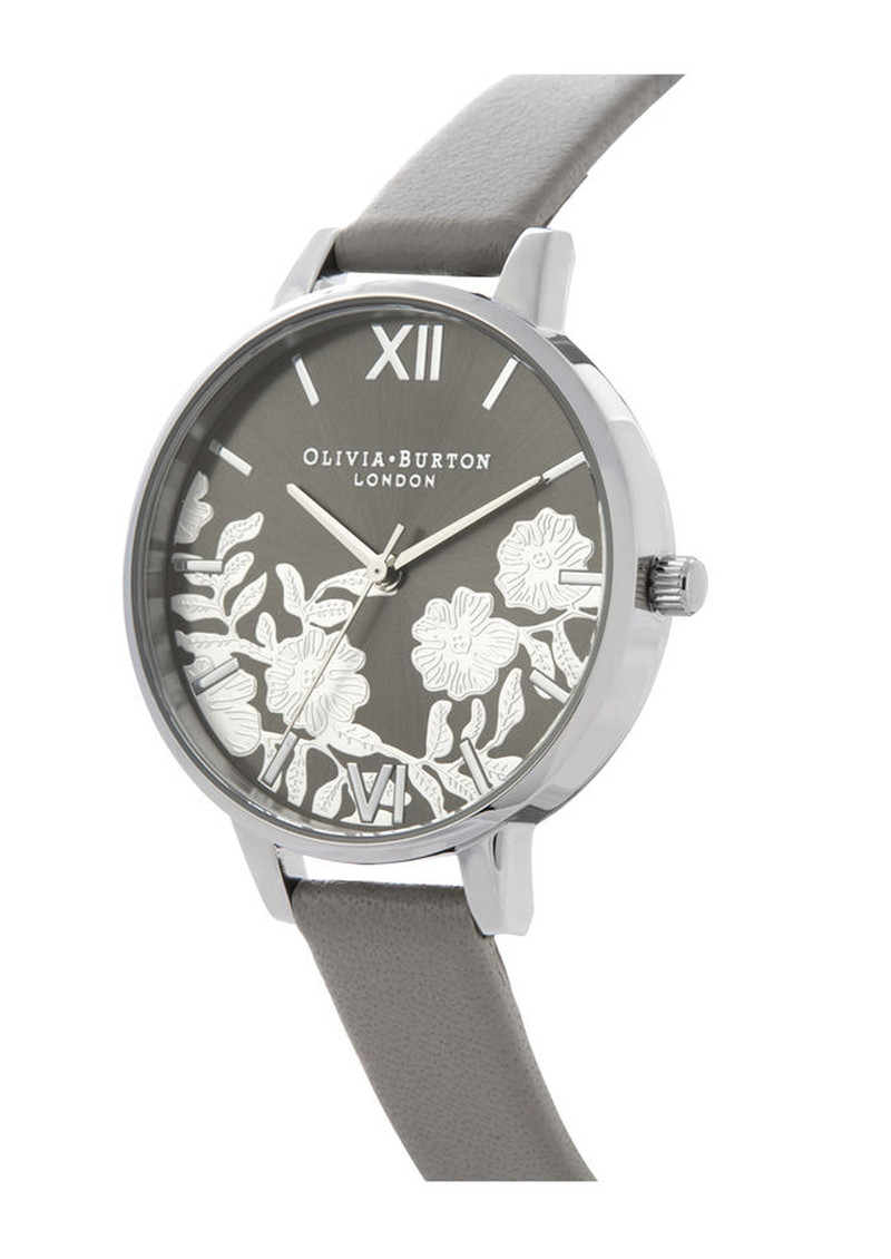Olivia Burton Lace Detail Sunray Demi Dial Watch - Grey & Silver main image