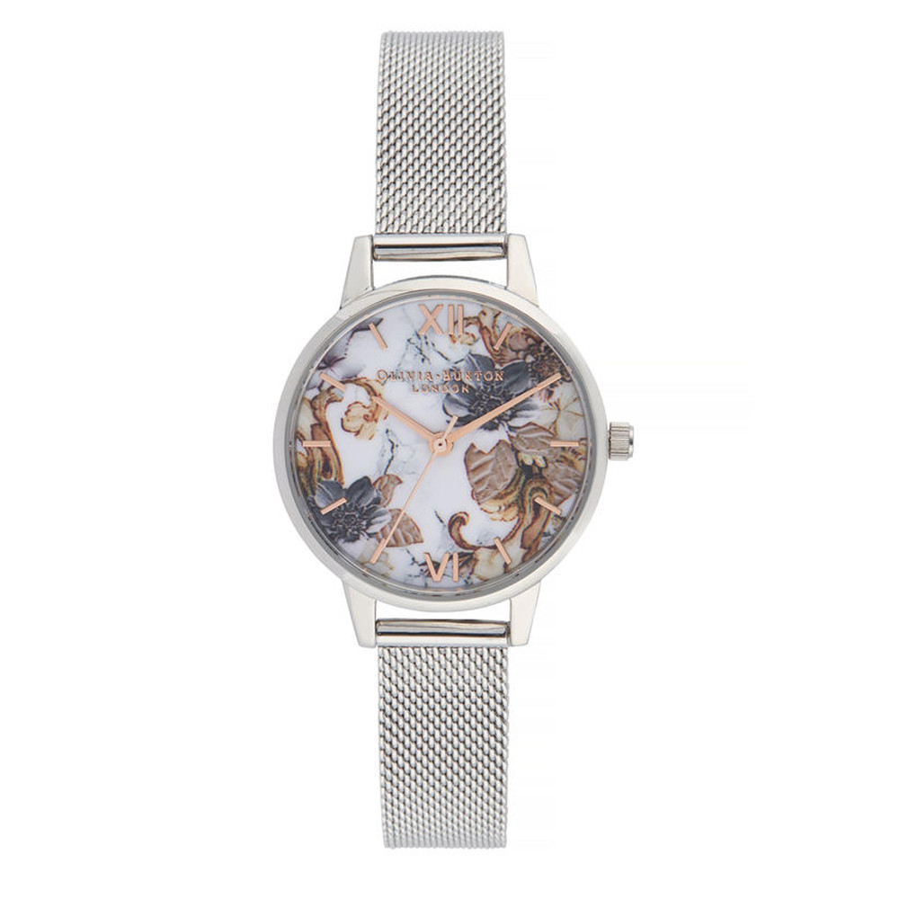 Marble Florals Midi Dial Mesh Watch - Rose Gold & Silver