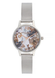 Olivia Burton Marble Florals Midi Dial Mesh Watch - Rose Gold & Silver