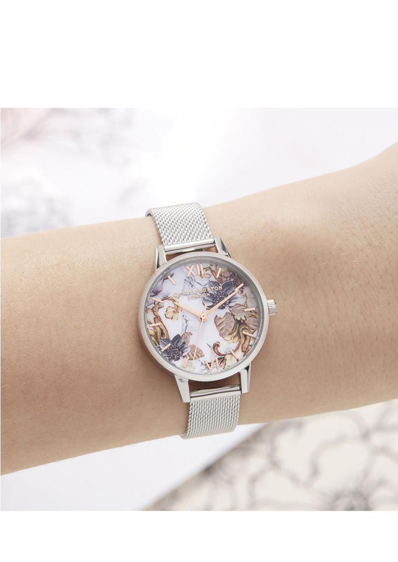 Olivia Burton Marble Florals Midi Dial Mesh Watch - Rose Gold & Silver main image