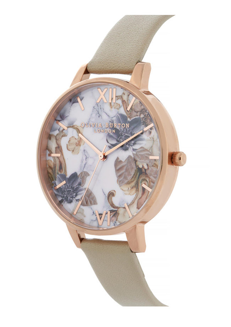 Olivia Burton Marble Florals Big Dial Watch - Sand & Rose Gold  main image
