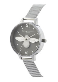 Olivia Burton 3D Bee Demi Dial Watch - Grey & SIlver
