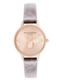 Olivia Burton 3D Bee Midi Dial Watch with Velvet - Grey, Lilac & Rose Gold