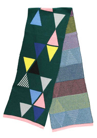 MISS POM POM Triangle Scarf - Forest Green