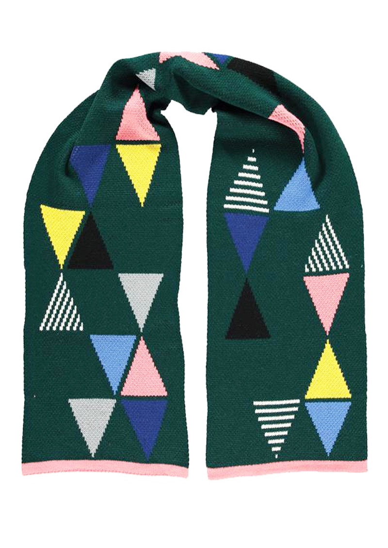 MISS POM POM Triangle Scarf - Forest Green main image