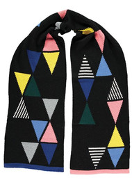 MISS POM POM Triangle Scarf - Black
