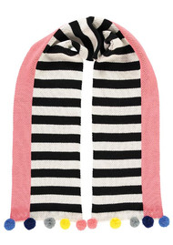 MISS POM POM Linear Pom Pom Scarf - Black & White