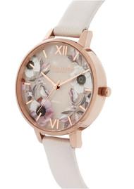 Olivia Burton Semi Precious Demi Dial Watch - Rose Quartz & Rose Gold