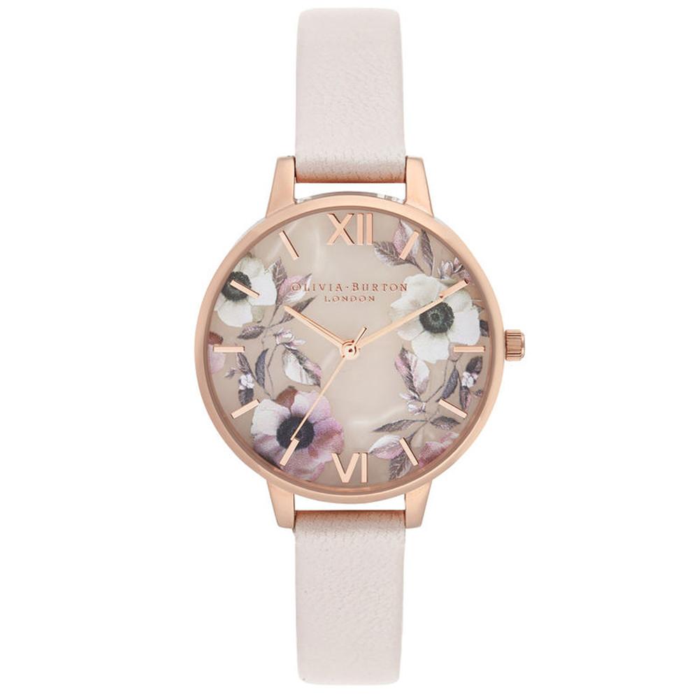 Semi Precious Demi Dial Watch - Rose Quartz & Rose Gold