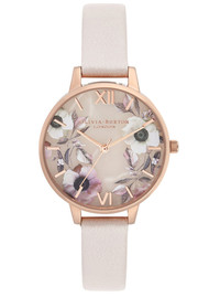Olivia Burton Semi Precious Demi Dial Watch - Rose Quartz & Rose Gold