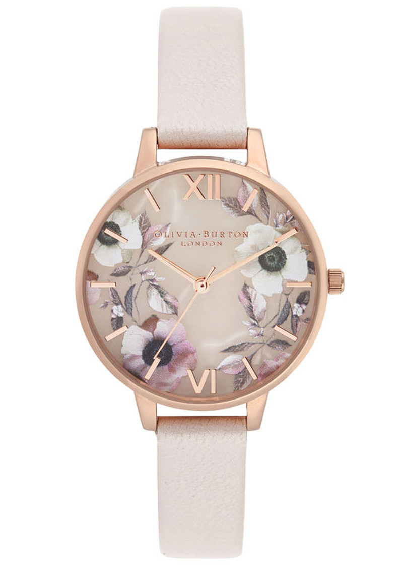 Semi Precious Demi Dial Watch - Rose Quartz & Rose Gold main image