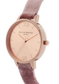 Olivia Burton Sunray Demi Dial Watch - Rose Velvet & Rose Gold