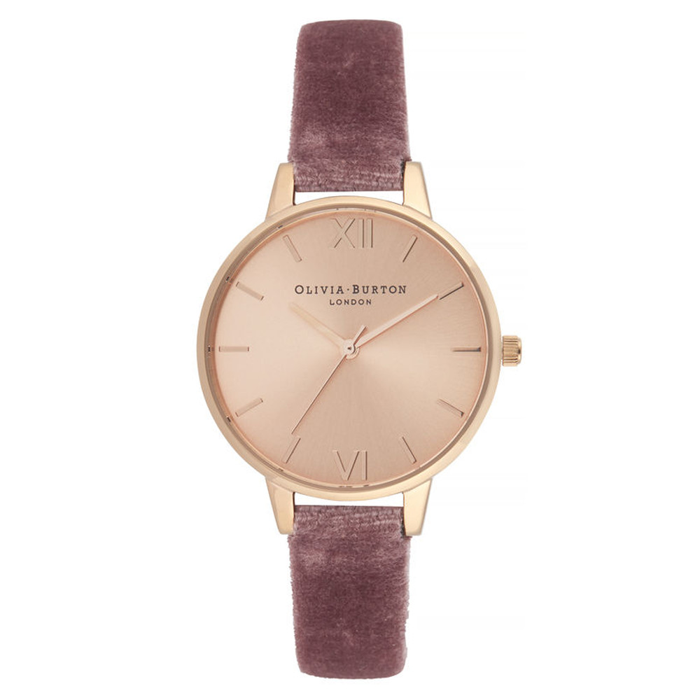 Sunray Demi Dial Watch - Rose Velvet & Rose Gold