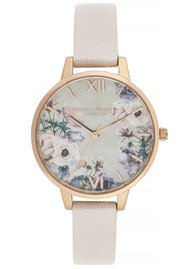 Olivia Burton Watercolour Florals Demi Dial Watch - Nude Mother Of Pearl & Rose Gold