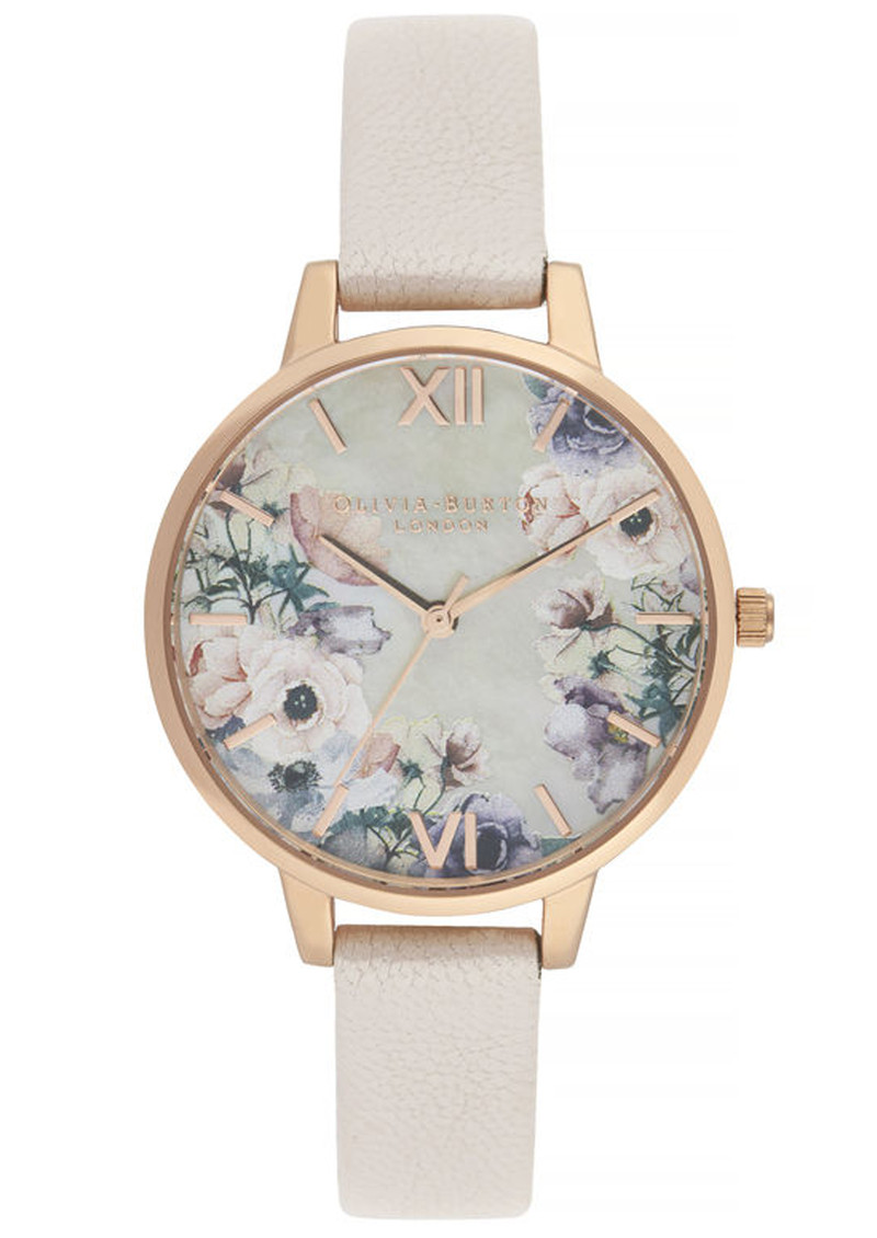 Olivia Burton Watercolour Florals Demi Dial Watch - Nude Mother Of Pearl & Rose Gold main image