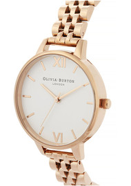 Olivia Burton White Dial Demi Dial Bracelet Watch - Rose Gold