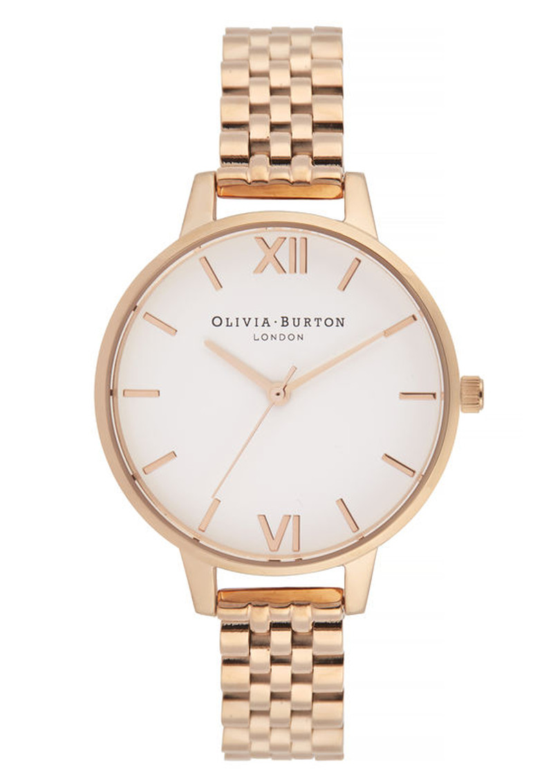 Olivia Burton White Dial Demi Dial Bracelet Watch - Rose Gold main image