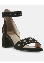 SHOE THE BEAR Maya Stud Suede Sandals - Black