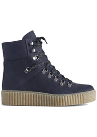 SHOE THE BEAR Agda Nubuck Leather Lace Up Boot - Navy