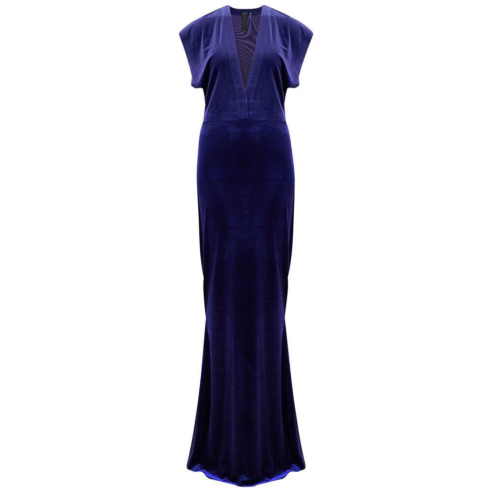 V Neck Rectangle Velvet Dress - Purple