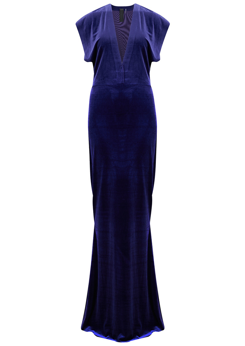 NORMA KAMALI V Neck Rectangle Velvet Dress - Purple main image