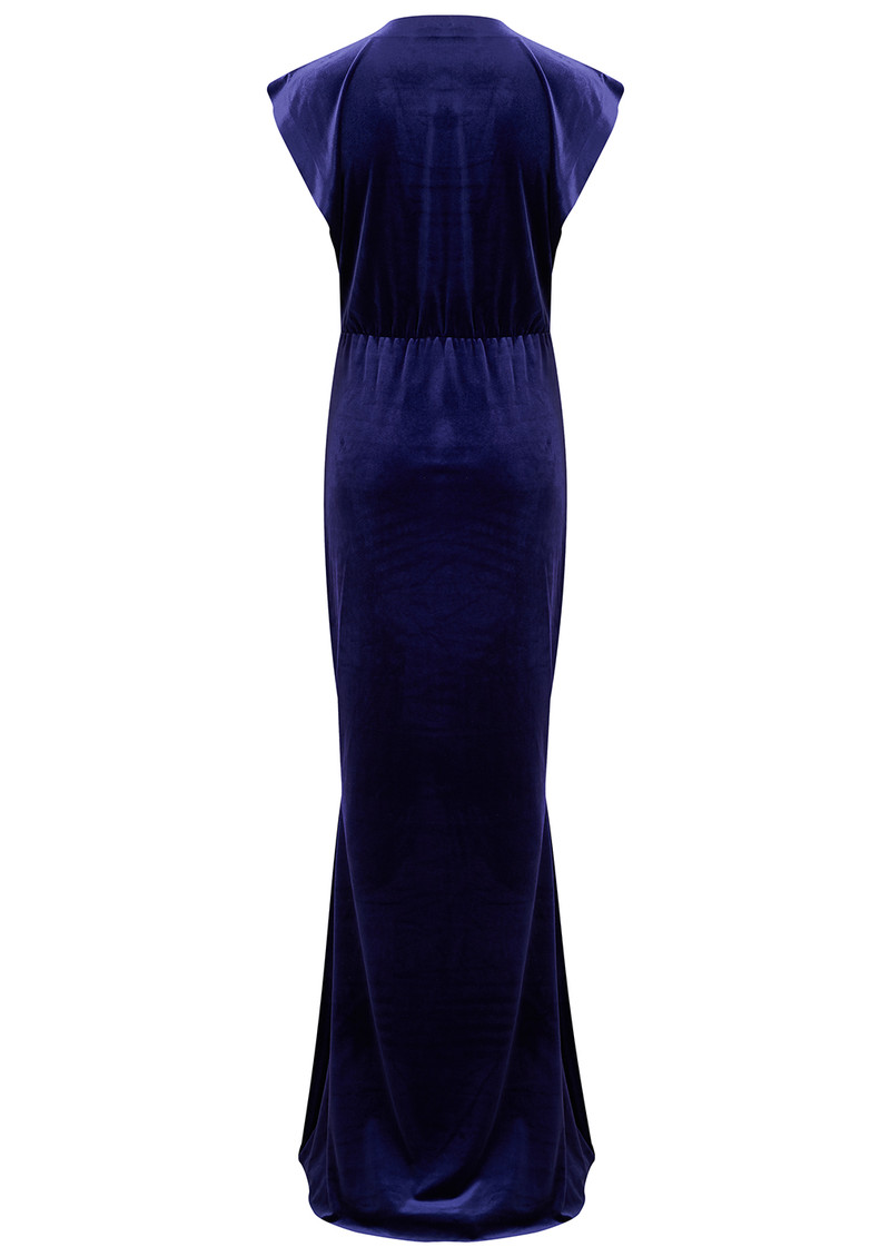 V Neck Rectangle Velvet Dress - Purple main image