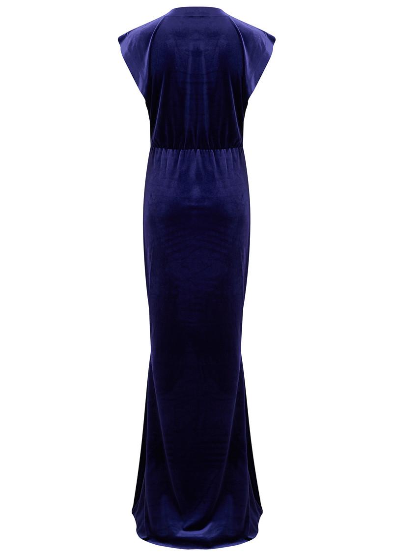 NORMA KAMALI V Neck Rectangle Velvet Dress - Purple main image