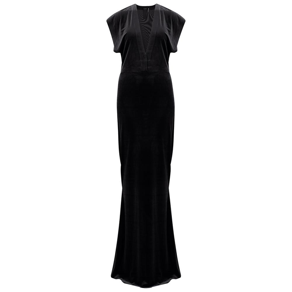 V Neck Rectangle Velvet Dress - Black