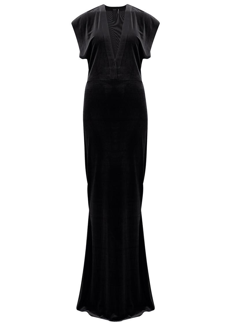 NORMA KAMALI V Neck Rectangle Velvet Dress - Black main image