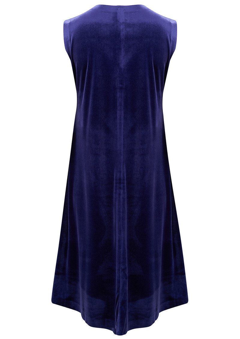 Sleeveless Swing Velvet Dress - Purple main image